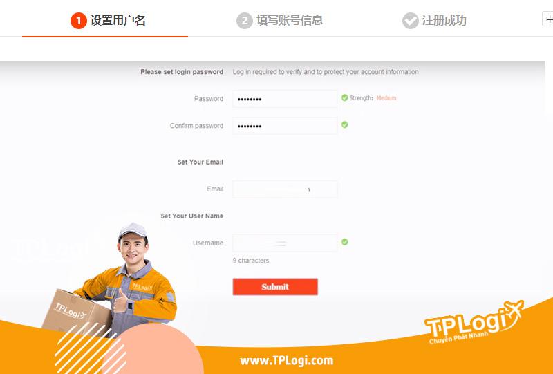 điền thông tin để đăng ký tài khoản taobao