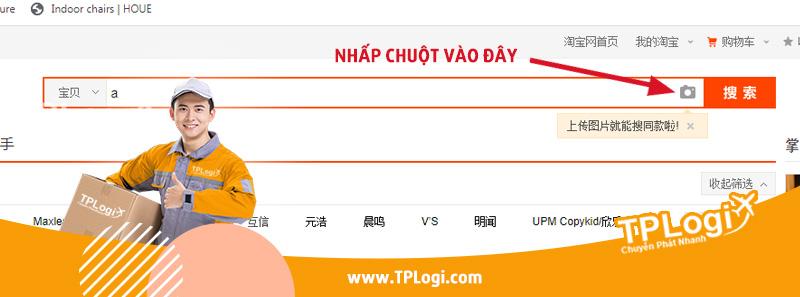 nhấp vào icon tìm kiếm hình ảnh trên taobao
