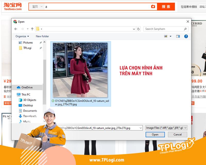 lựa chọn hình ảnh để tìm kiếm trên taobao