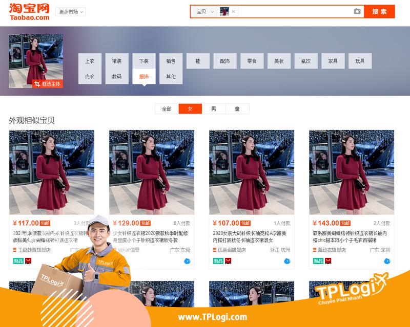 kết quả tìm kiếm bằng hình ảnh trên website taobao
