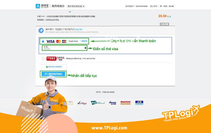Thanh toán taobao bằng visa